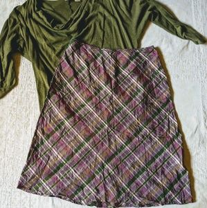 INC 100% silk plaid skirt